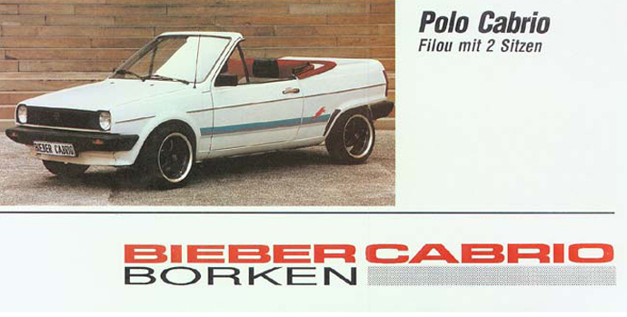As well as the Mk2, German company Bieber also made a convertible kIt for the Mk1 'Rocco, Mk2 Golf and Polo...