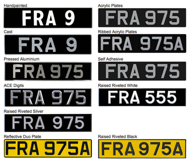 number plate types