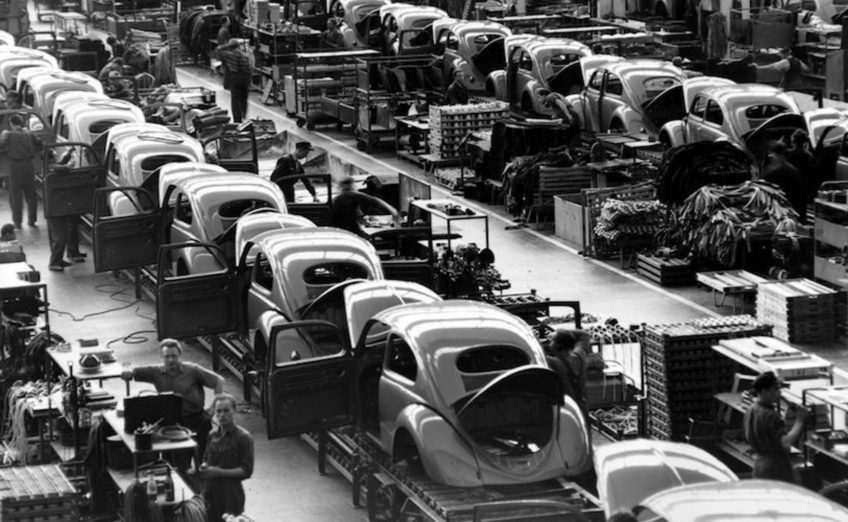 VW Beetle production at Wolfsburg in the 1950s
