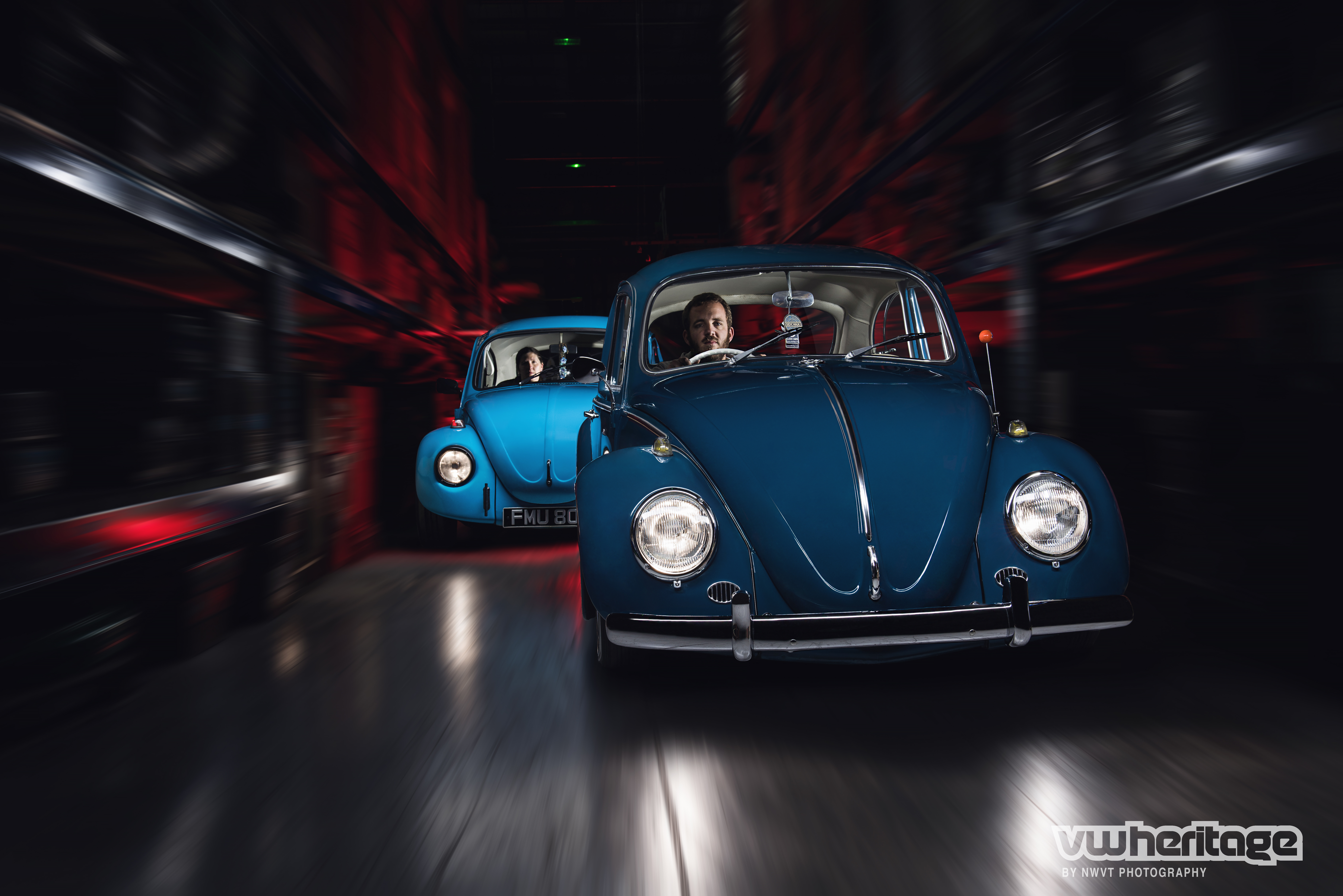 Beetle Blue Front Driving