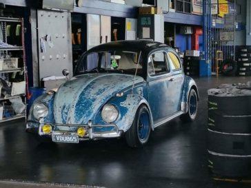 Sea blue patina'd VW Beetle