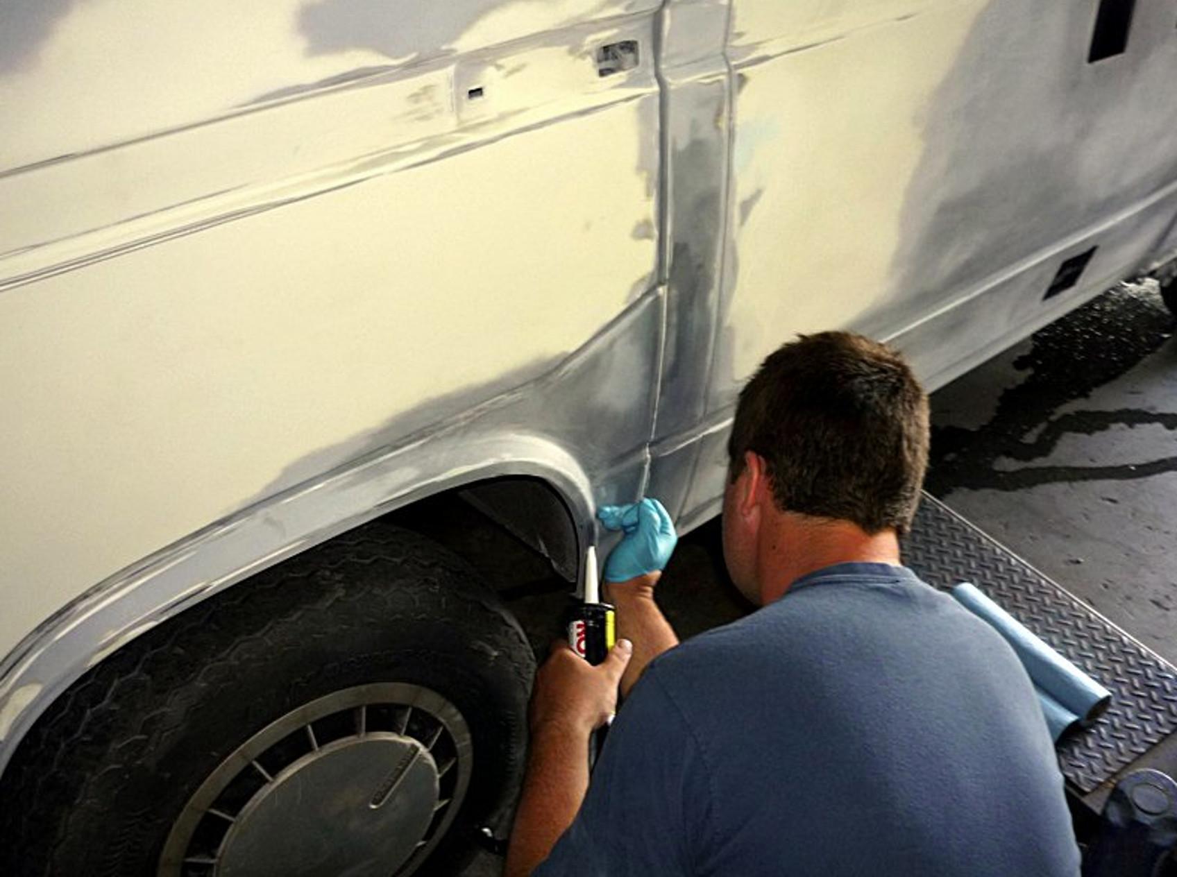 Applying body sealant to VW Type 25