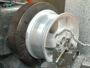 Machining an alloy wheel